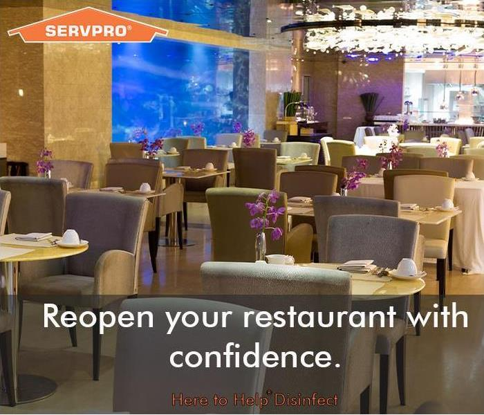 Restaurant interior with SERVPRO logo