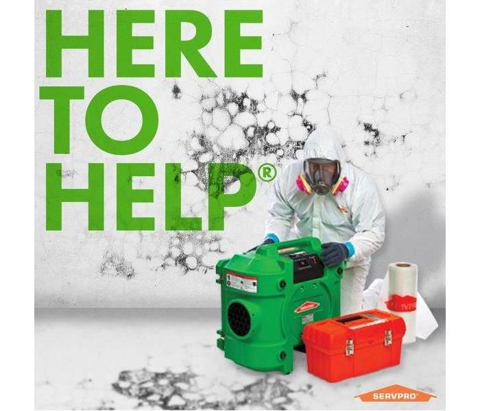 "SERVPRO employee in PPE with ""Here to Help"""