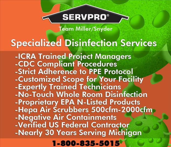 A list of specialized disinfection services
