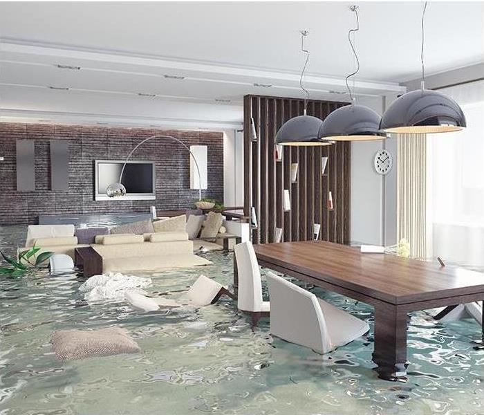 Dining Room filled with water and furniture flooding around the room