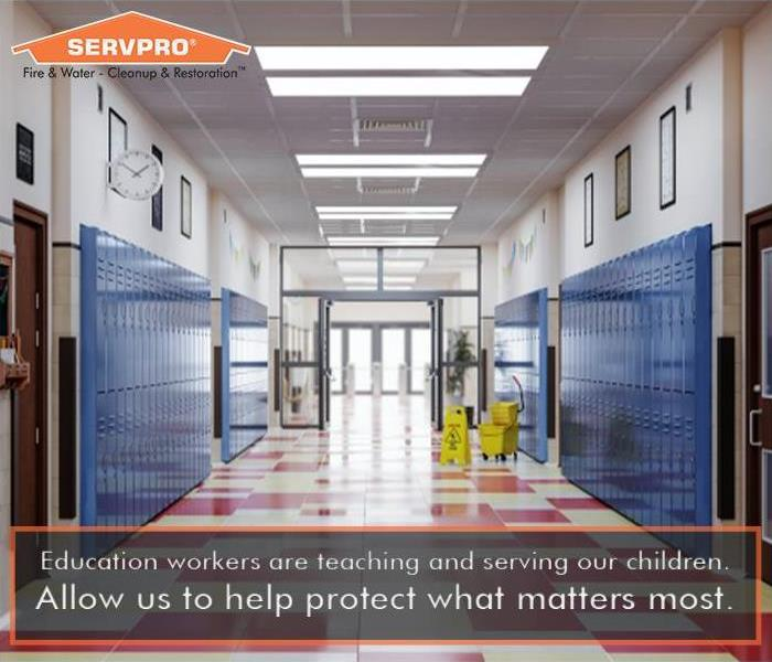 School hallway with SERVPRO logo